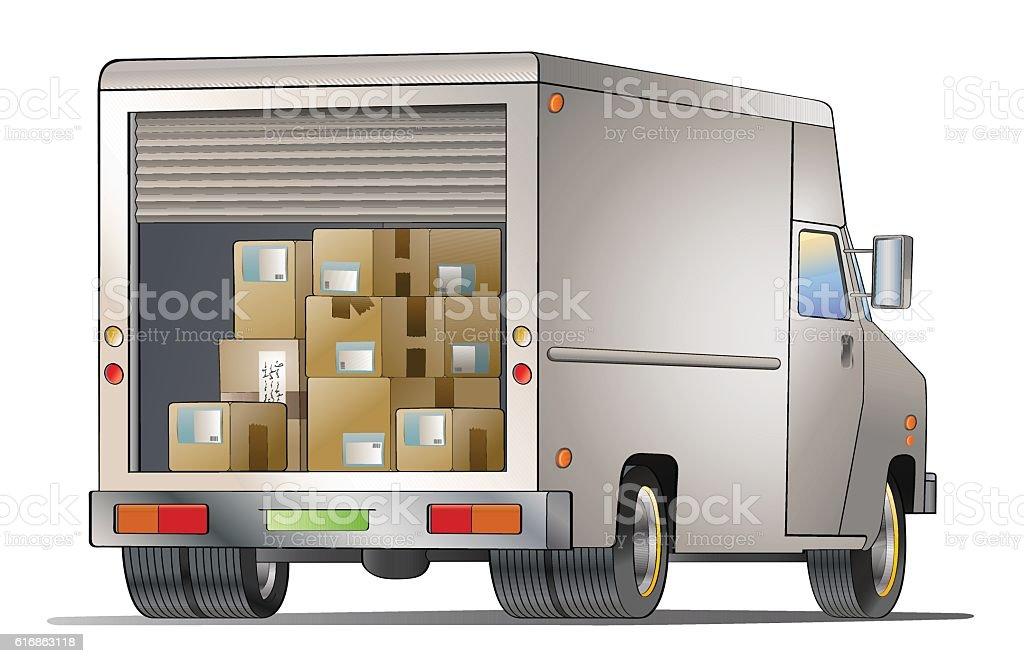 Courier truck vector art illustration