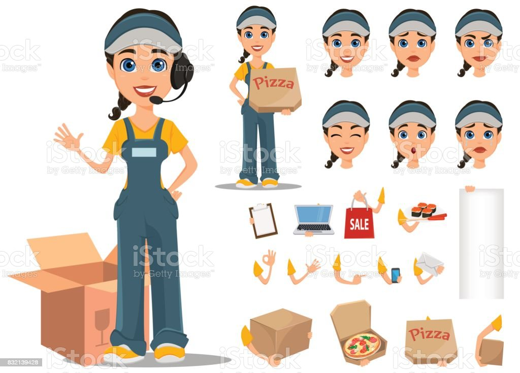 Courier woman character creation set. Professional fast delivery. Full height, various emotions, gestures. vector art illustration
