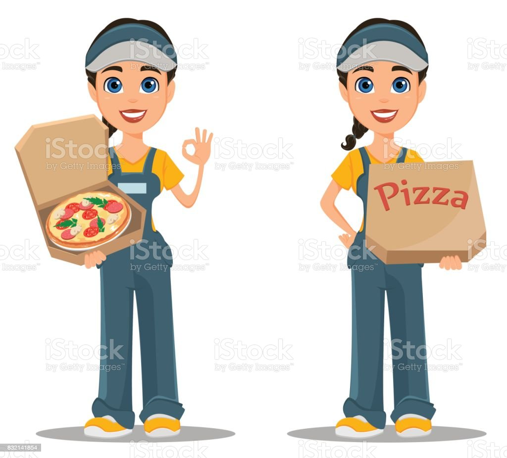 Courier woman delivering pizza. Set. Professional fast delivery. vector art illustration