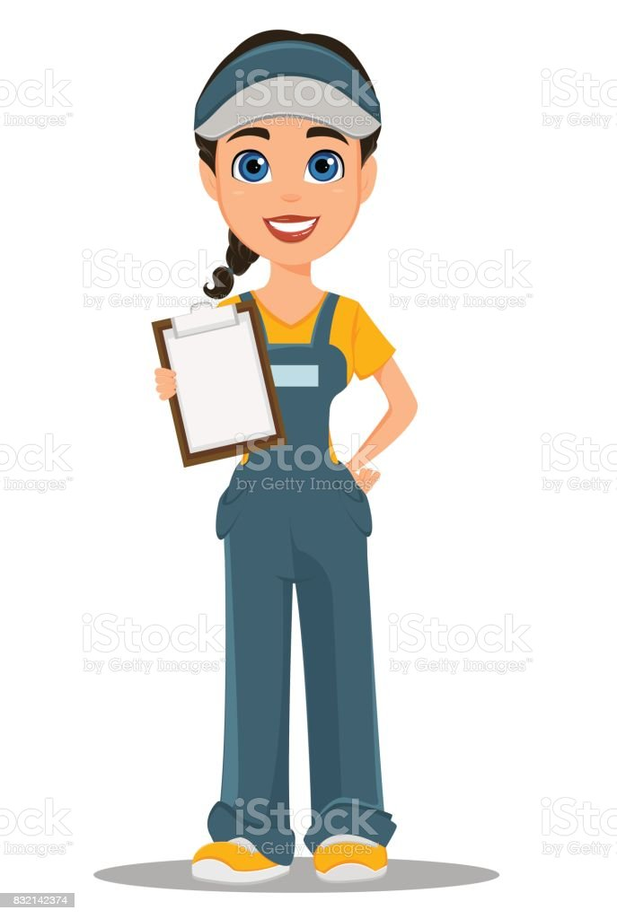 Courier woman holding blank clipboard. Professional fast delivery. vector art illustration