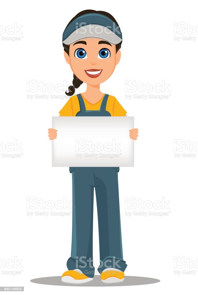 Courier woman holding blank placard. Professional fast delivery. vector art illustration