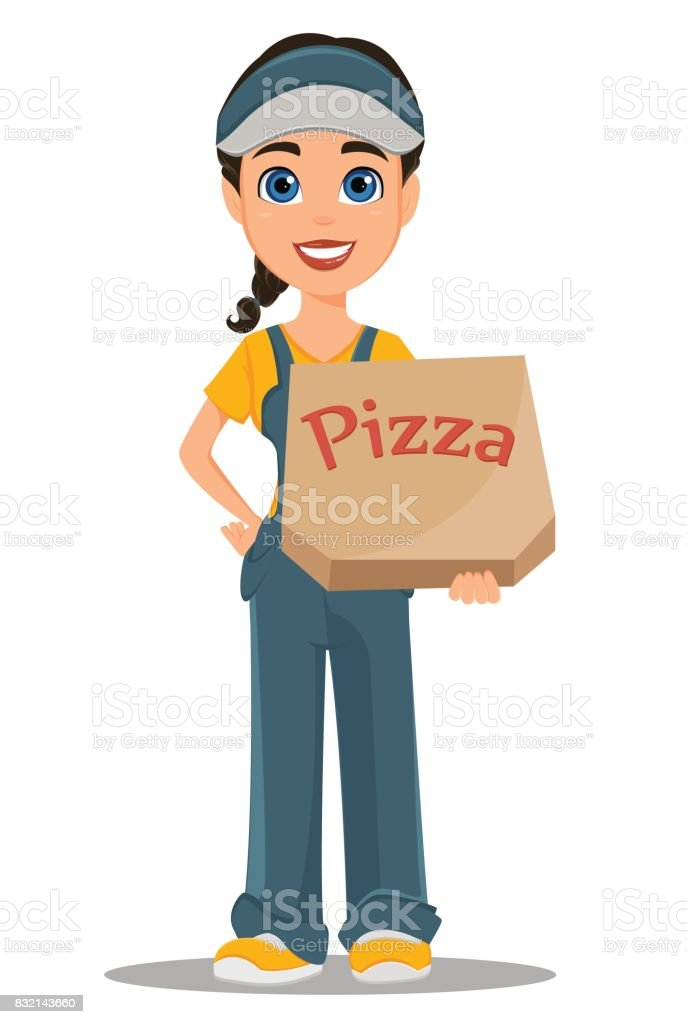 Courier woman holding box with tasty hot pizza. Professional fast delivery. vector art illustration
