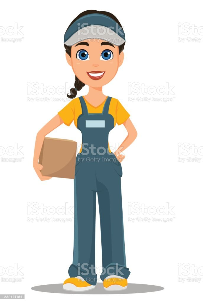 Courier woman holding carton box. Professional fast delivery. vector art illustration
