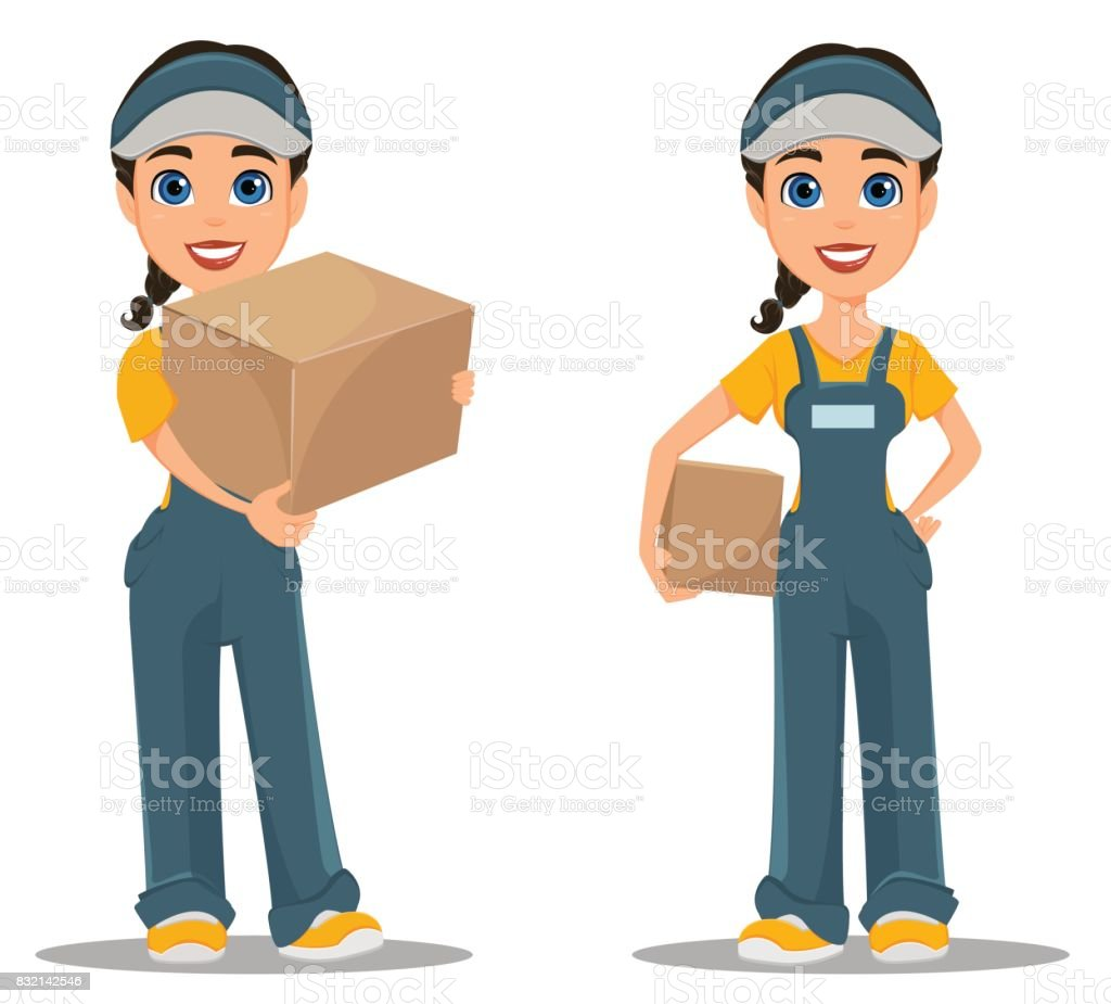 Courier woman holding carton box. Set. Professional fast delivery. vector art illustration