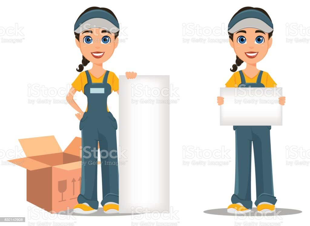 Courier woman holding placard and standing near placard. Set. Professional fast delivery. vector art illustration