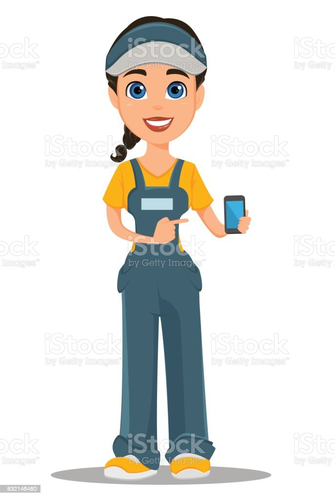 Courier woman holding smartphone. Professional fast delivery. vector art illustration