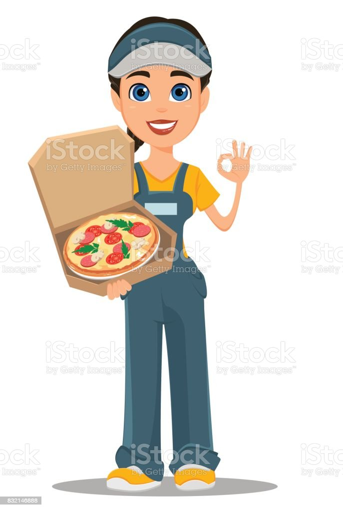 Courier woman holding tasty hot pizza and showing ok sign. vector art illustration