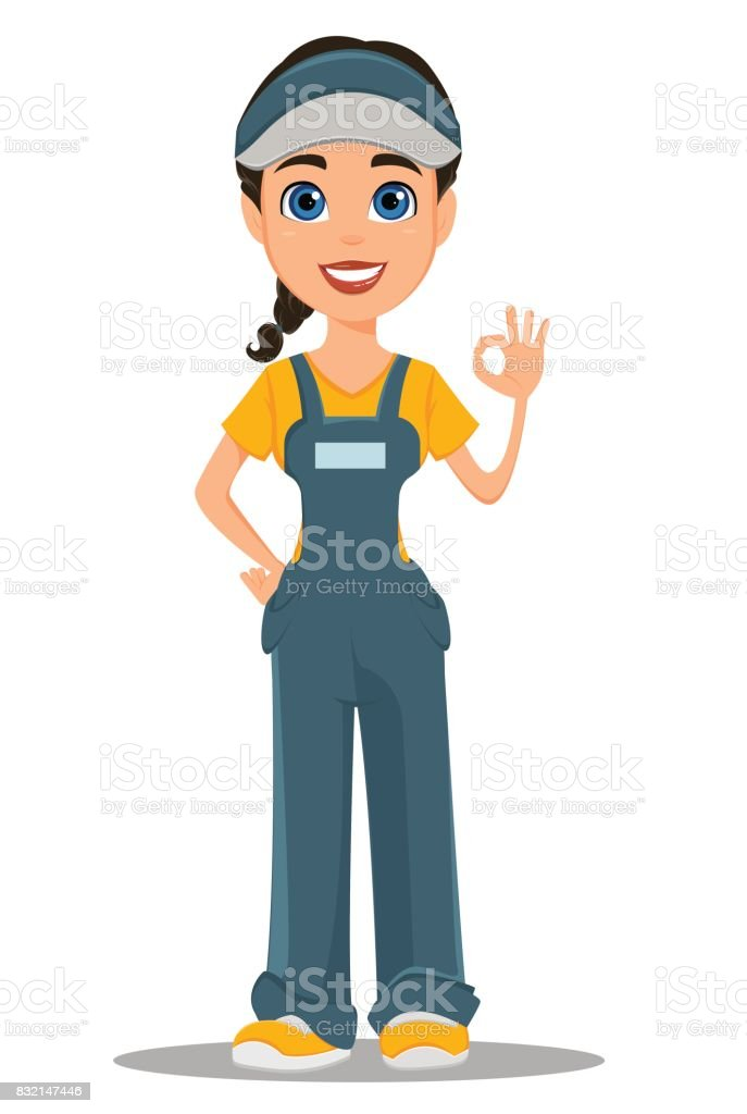 Courier woman smiling and showing ok sign. Professional fast delivery. vector art illustration