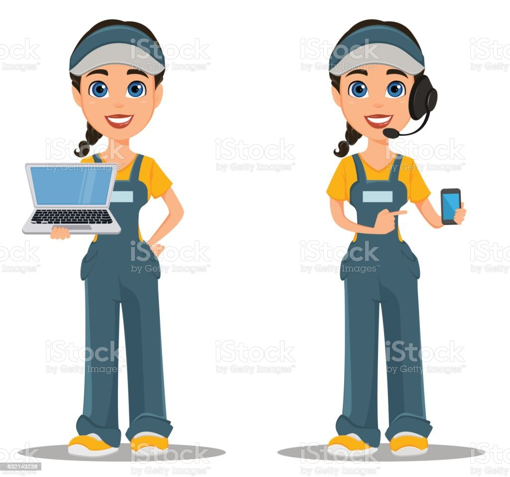 Courier woman with headset accepts an order, holding smartphone and standing with laptop. Professional fast delivery. vector art illustration