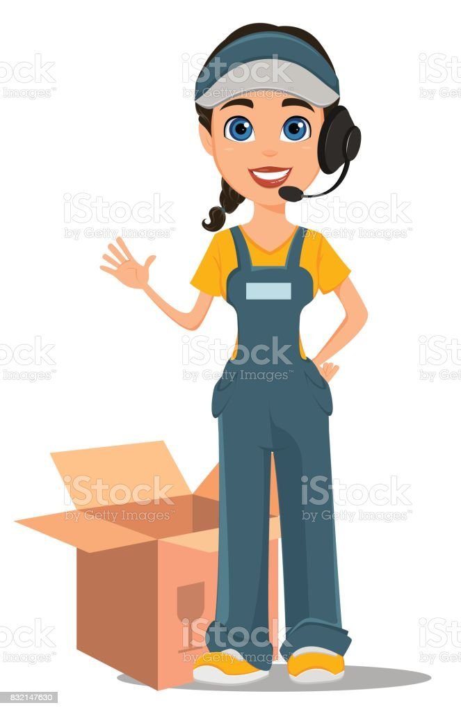 Courier woman with headset accepts an order, standing near opened box. Professional fast delivery. vector art illustration