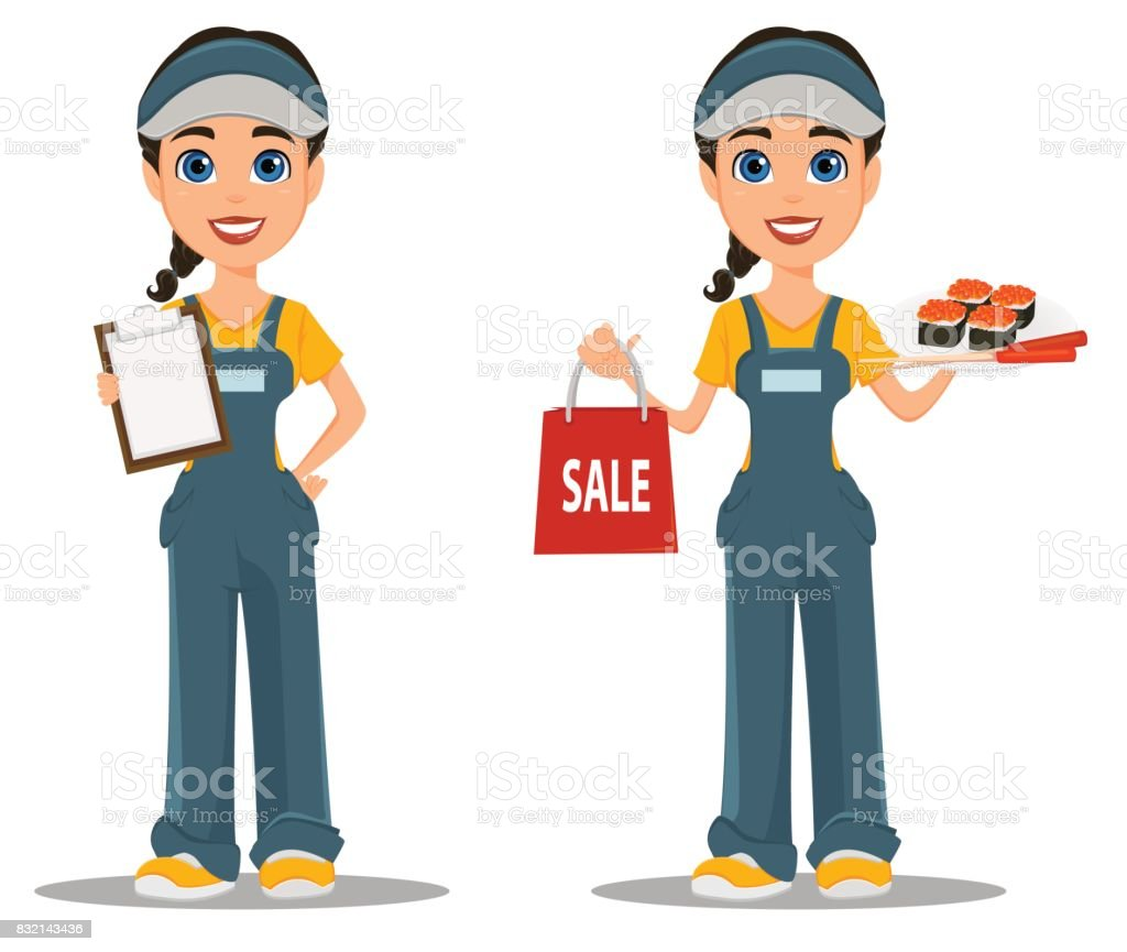 Courier woman with sushi and with blank clipboard. Professional fast delivery. Set. vector art illustration