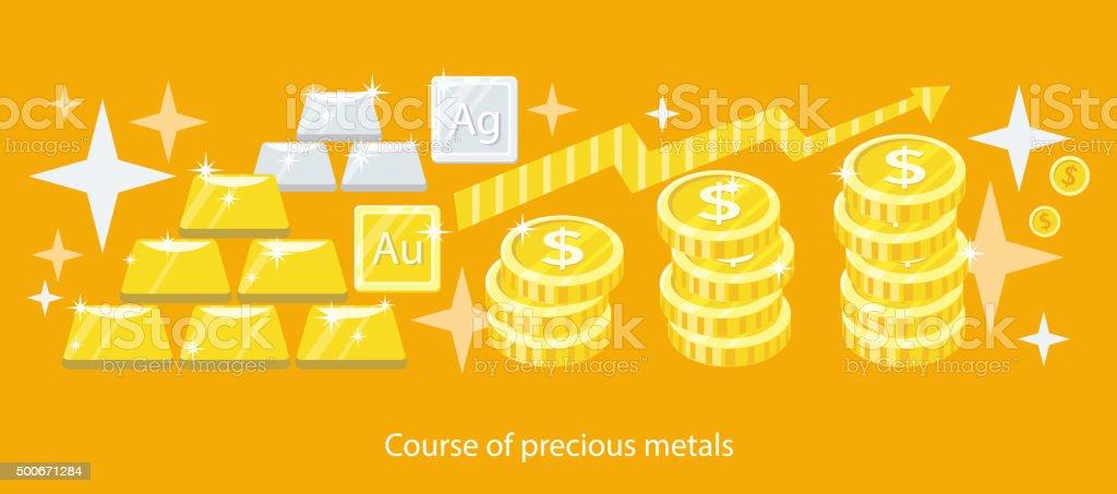 Course of Precious Metals Flat Design vector art illustration