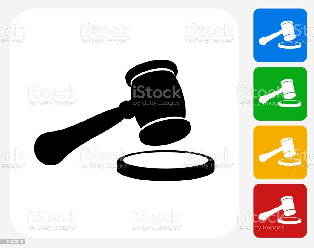 Court Hammer Icon Flat Graphic Design vector art illustration