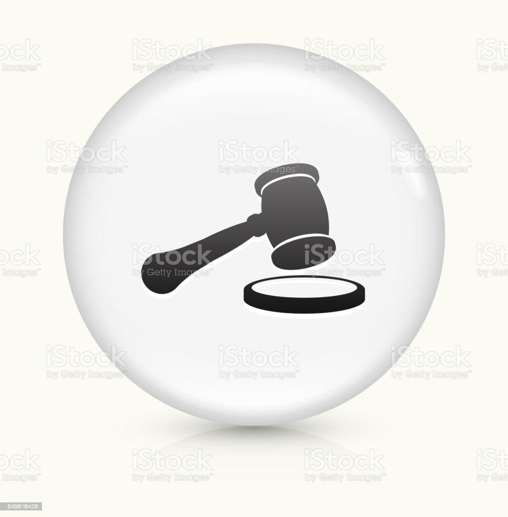 Court Hammer icon on white round vector button vector art illustration