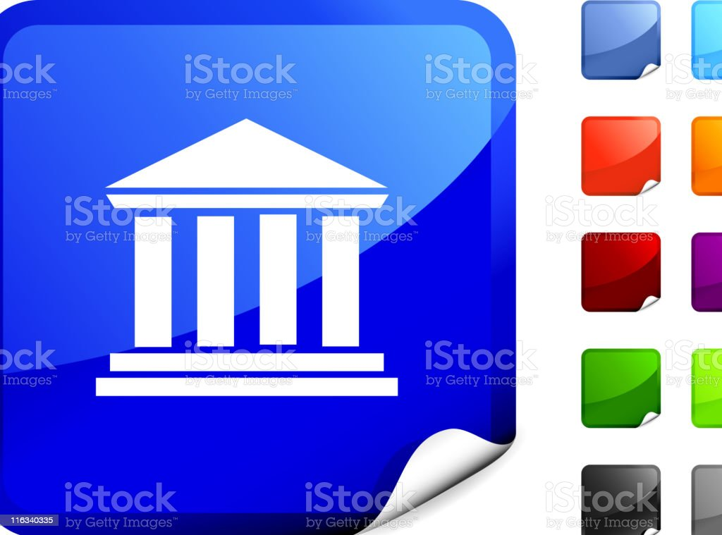 court house icon on sticker royalty-free stock vector art