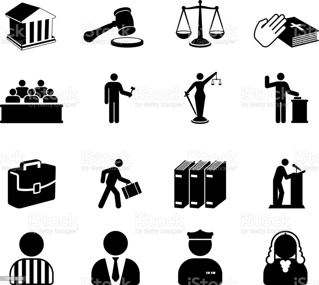 Court room legal system black and white vector icon set vector art illustration