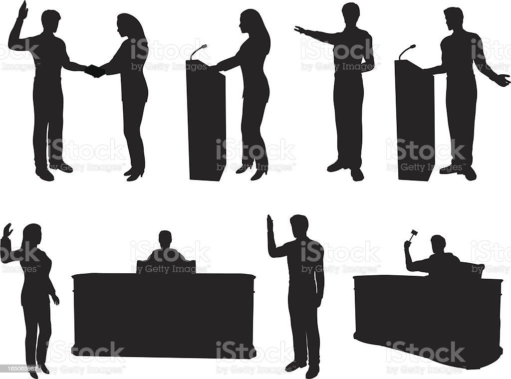 Courtroom Silhouette Collection vector art illustration