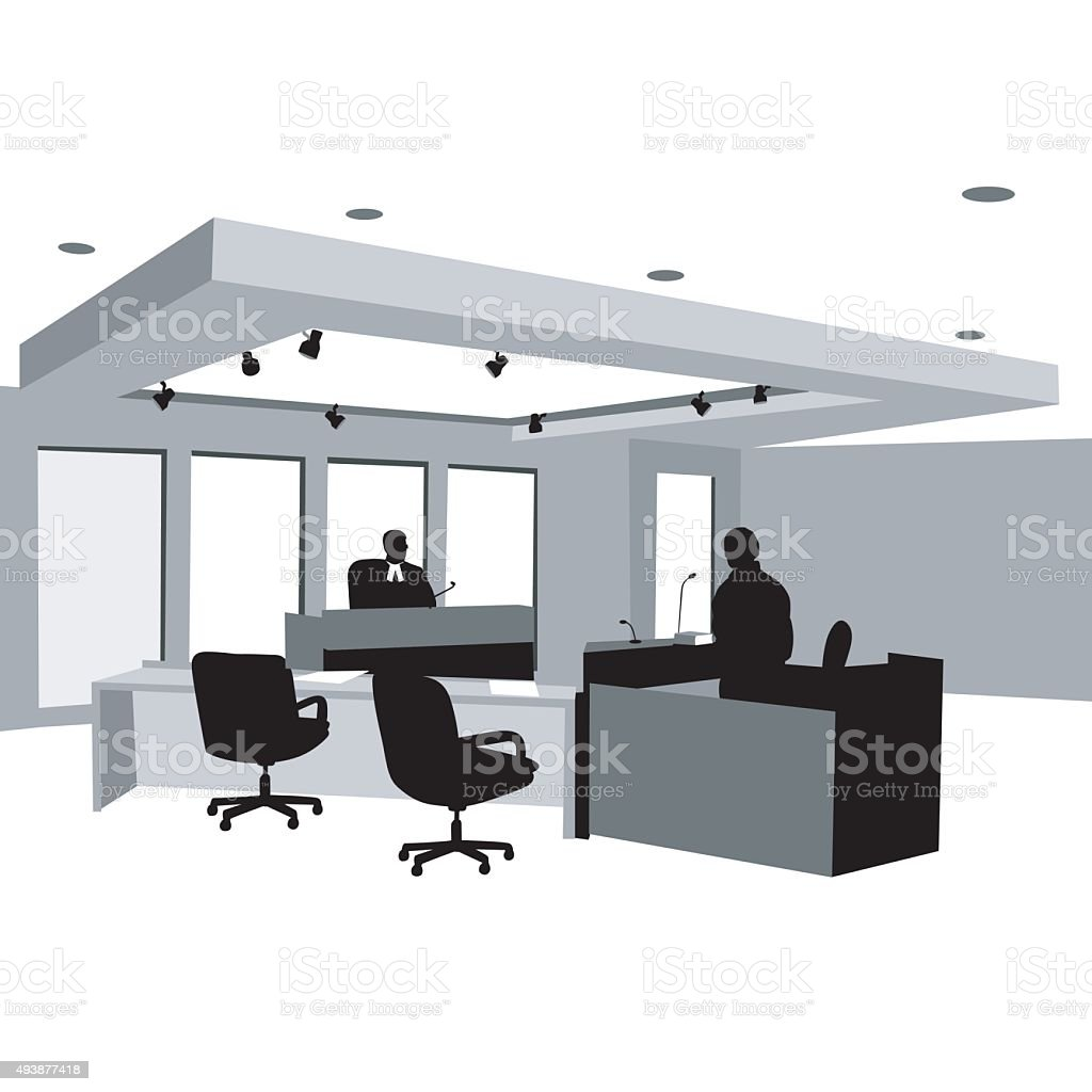 Courtroom Testify Judge vector art illustration