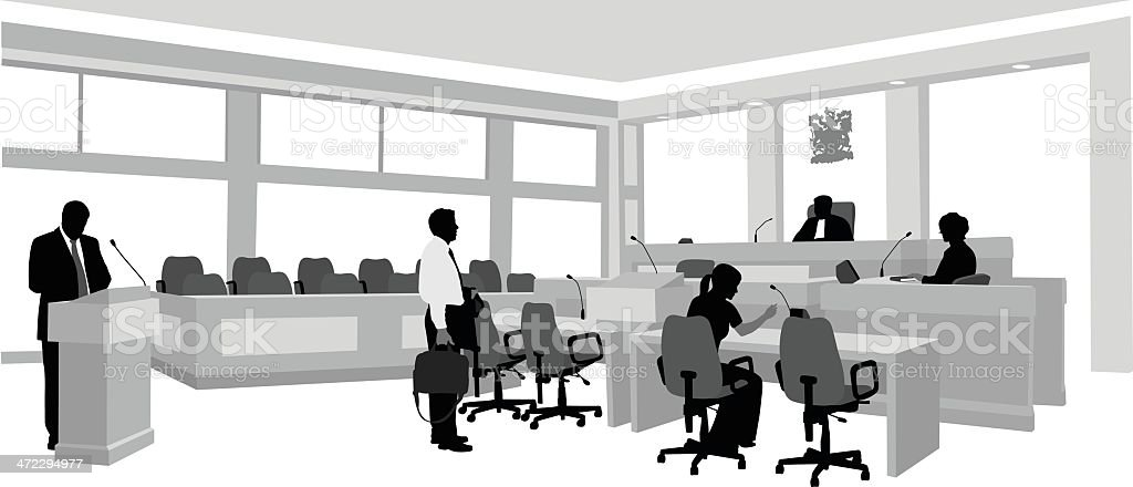 Courtroom Vector Silhouette royalty-free stock vector art