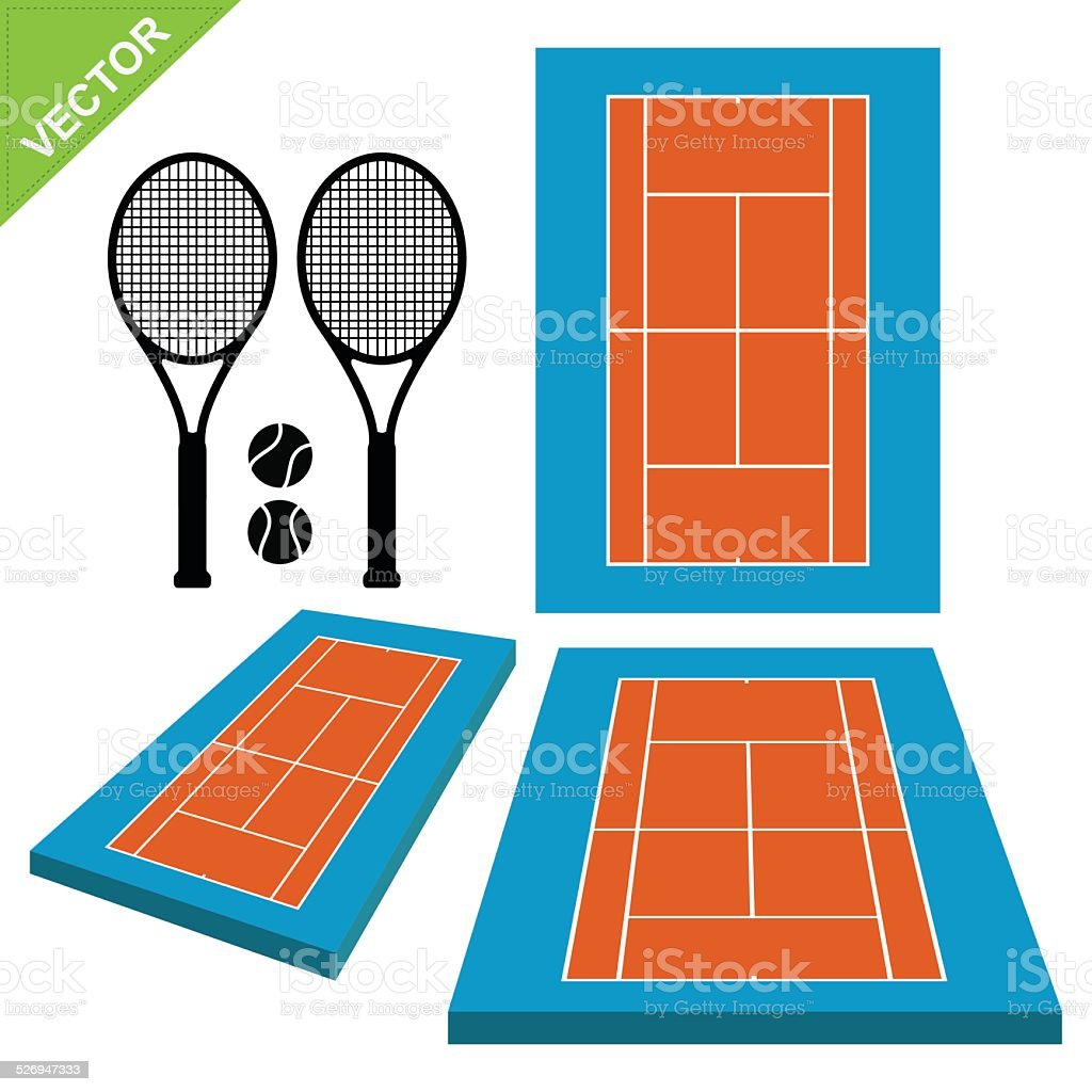 courts and tennis ball vector vector art illustration