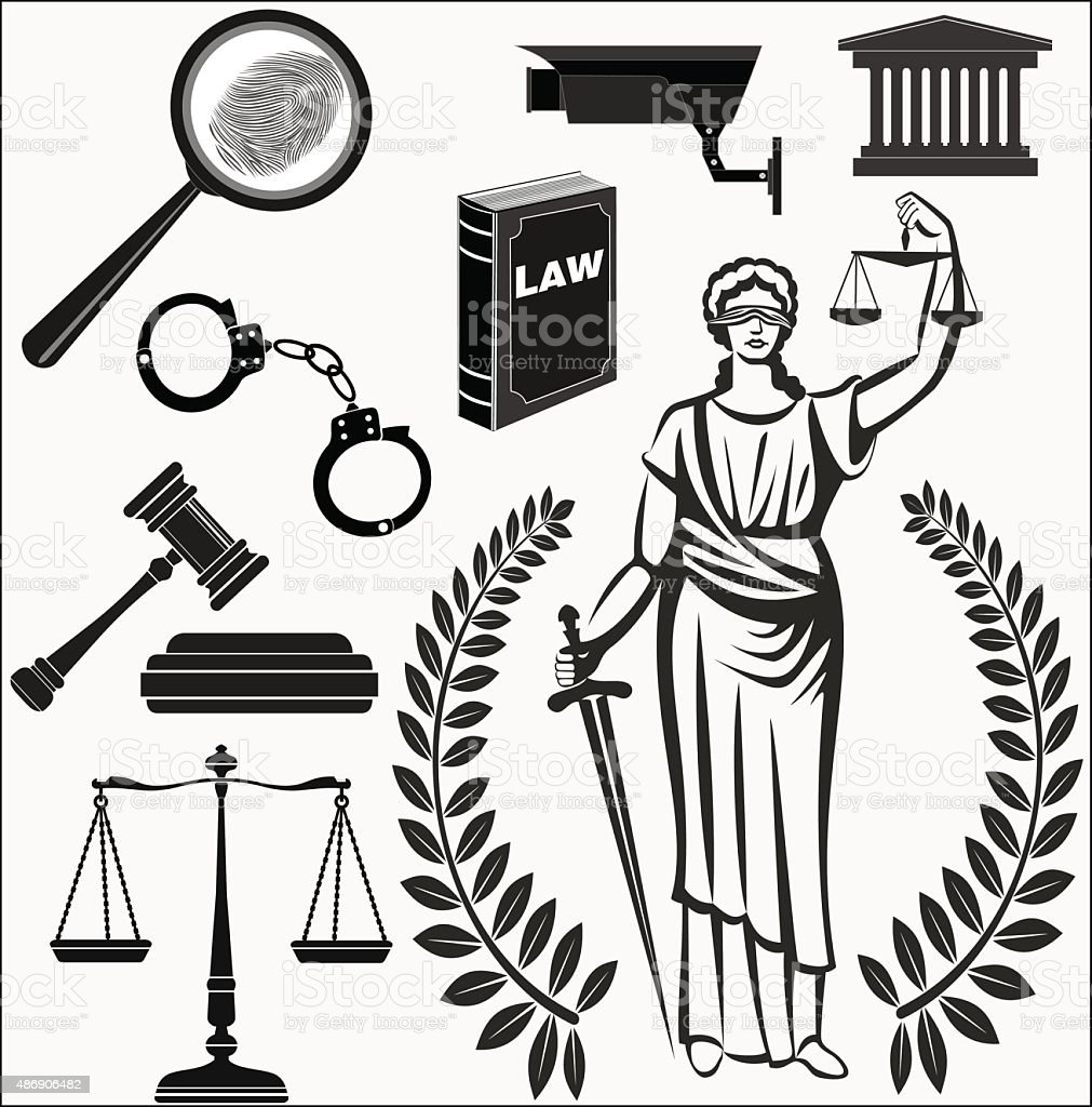 court.Set  icons .  judicial.law.Themis goddess.lady justice. vector art illustration