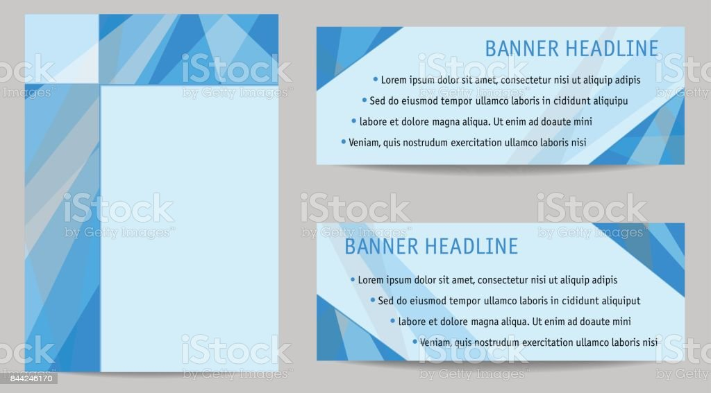 Cover A4 and two banners, layout set. Blue abstract flat backgrounds with text space, geometric templates for books, presentations, portfolio, brochures, annual reports, posters, booklets, leaflets, web. Vector EPS10 vector art illustration