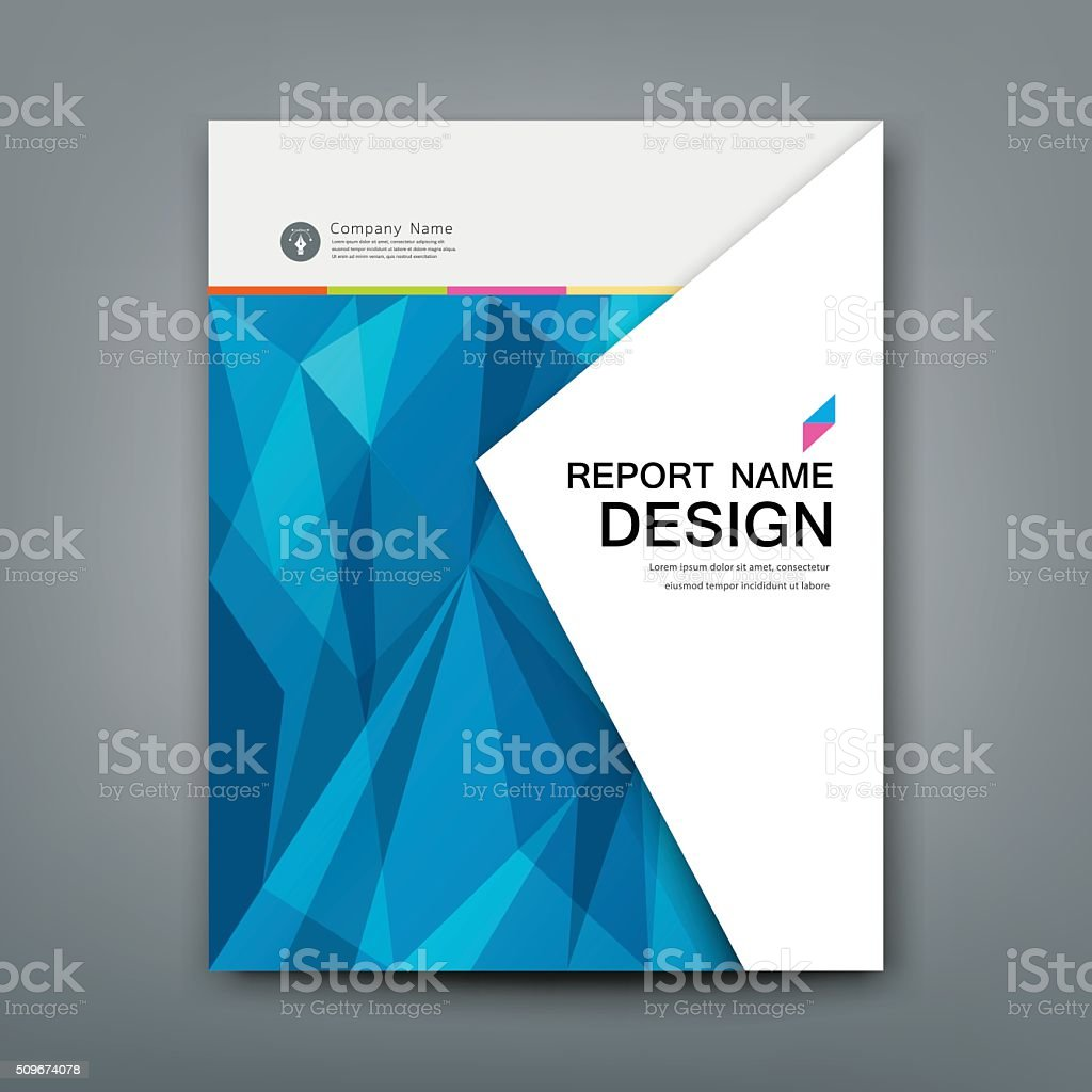 Cover Annual Report Abstract triangles geometric blue concept vector art illustration