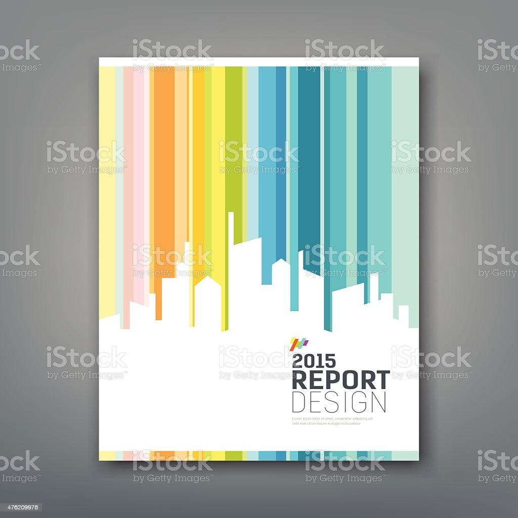 Cover Annual report silhouette building colorful background vector art illustration