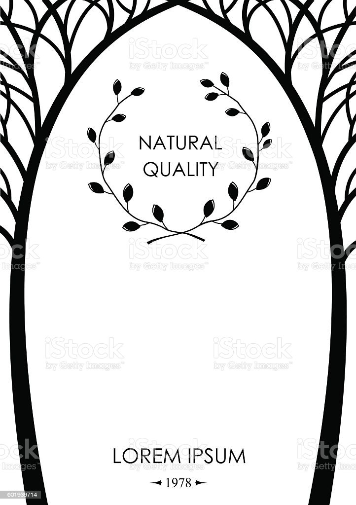 Cover from silhouettes of trees vector art illustration