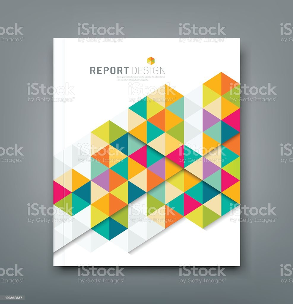 Cover report abstract colorful geometric template vector art illustration