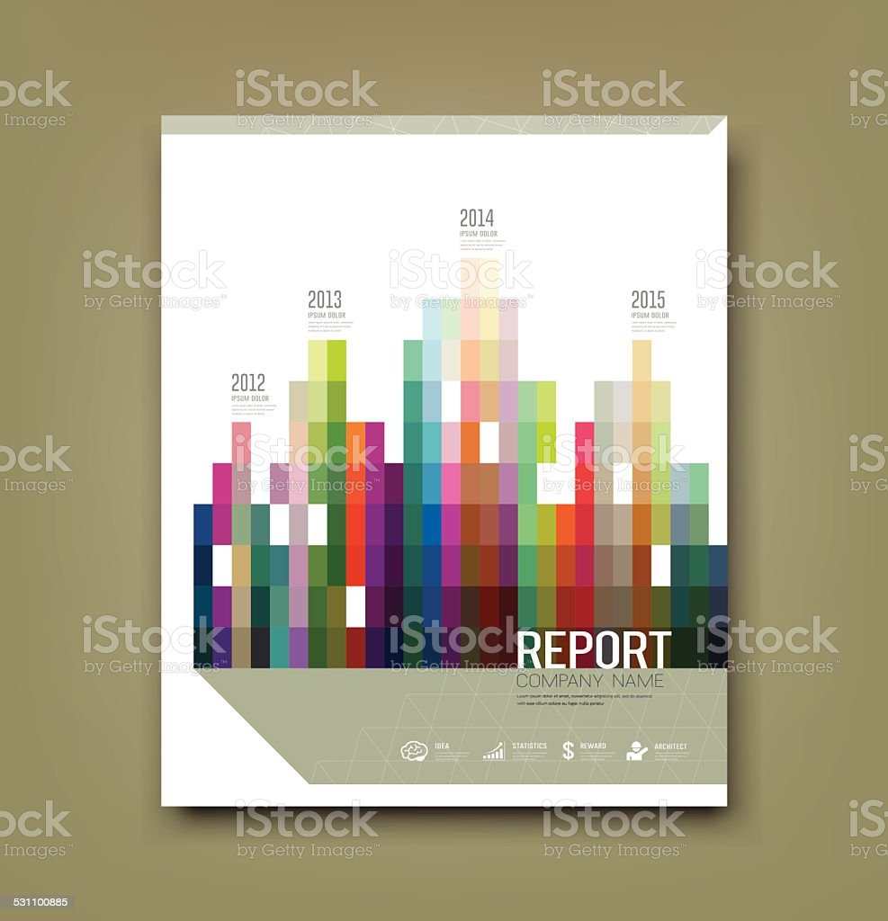 Cover Report colorful geometric building patten statistic concept vector art illustration