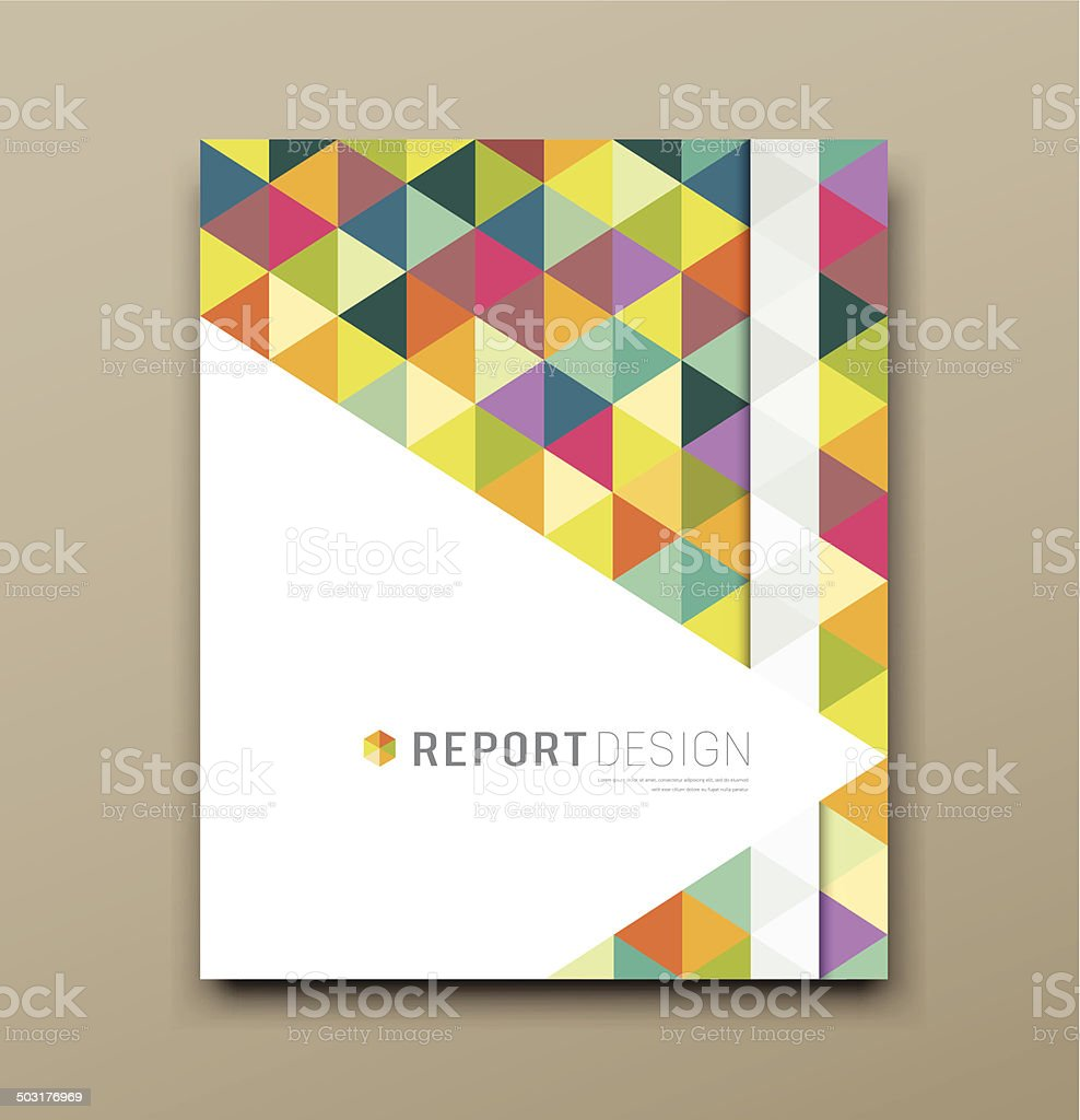 Cover report colorful triangle geometric pattern vector art illustration