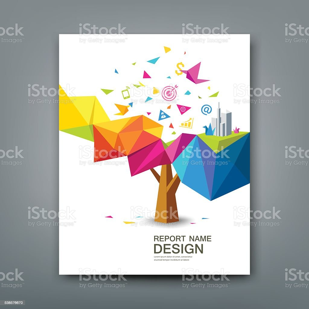 Cover report tree colorful geometric with bird paper vector art illustration