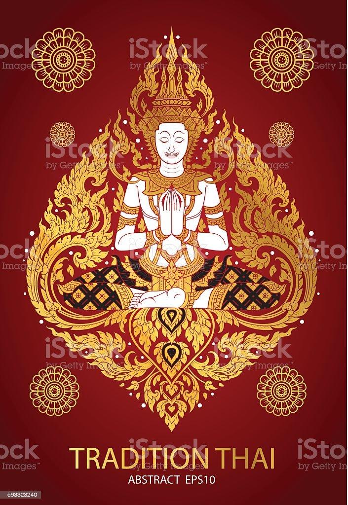 cover tradition thai Buddha Jewelry Set vector art illustration