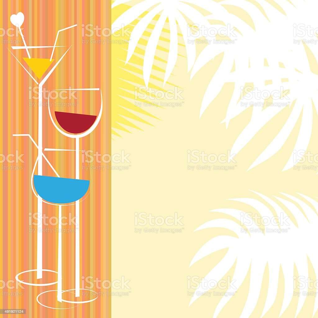 Cover with three glasses of cocktail and palm leafs vector art illustration