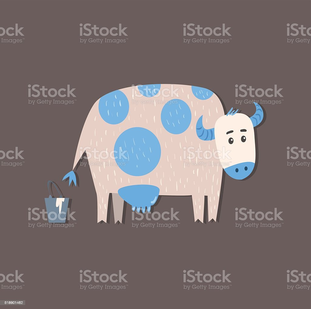 Cow And A Bucket Of Milk Image vector art illustration