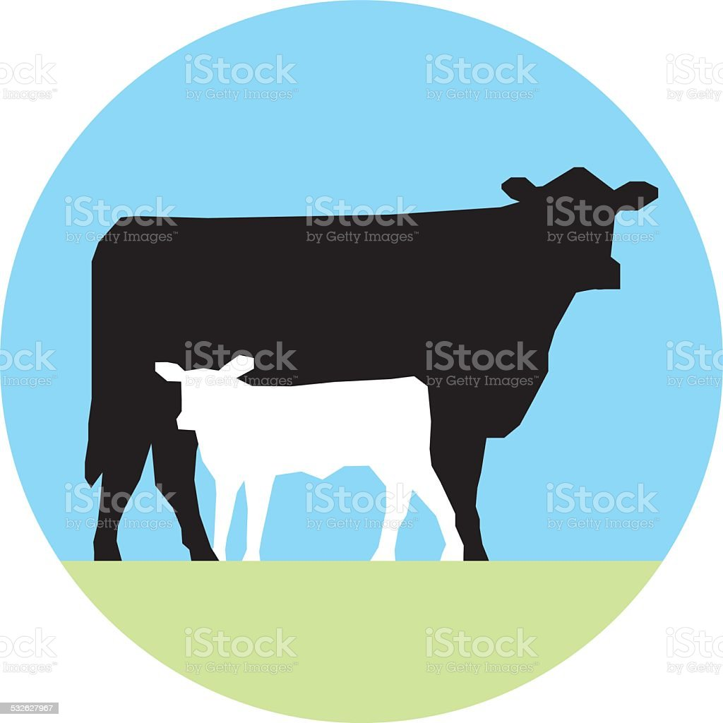 Cow and Calf vector art illustration