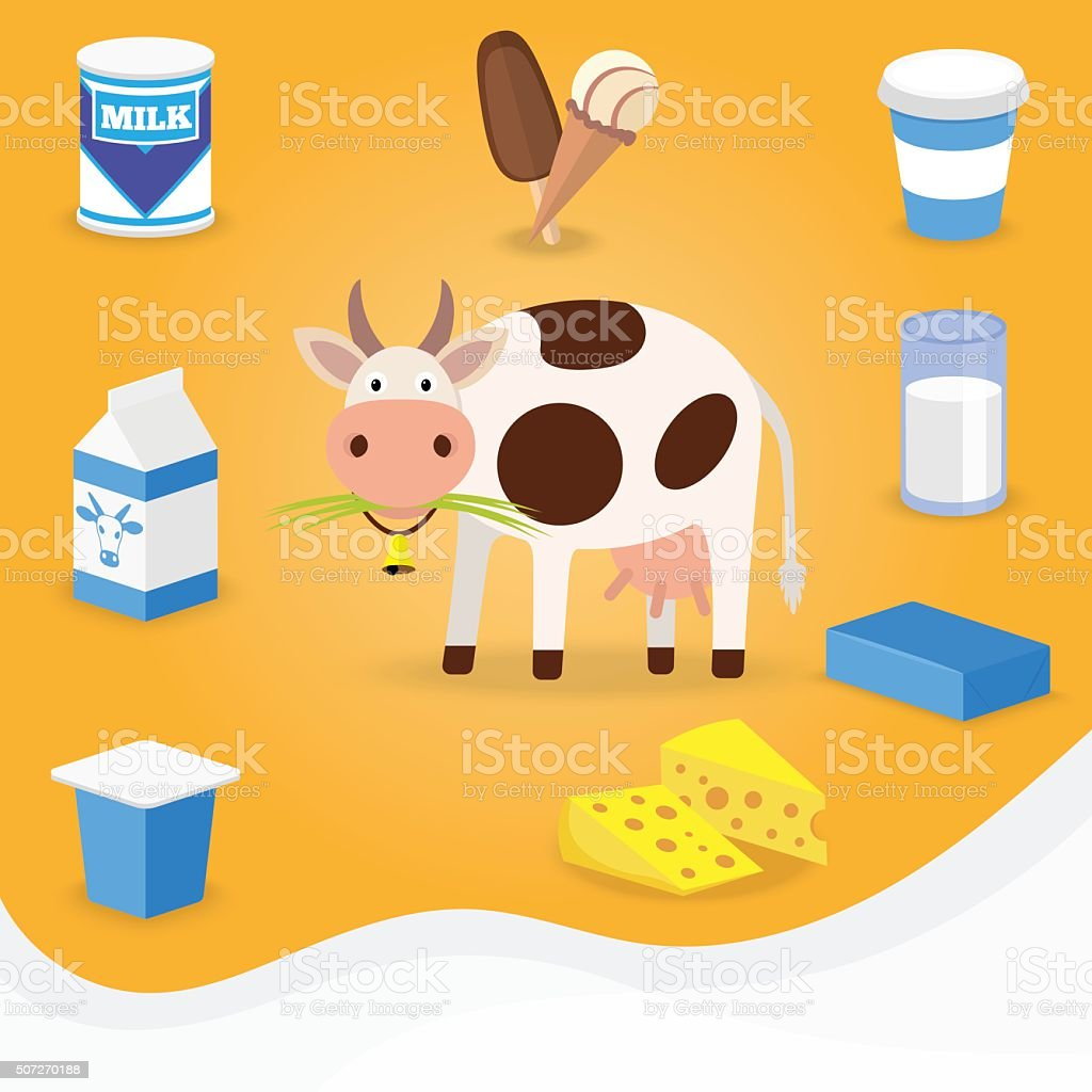 Cow and dairy products icons. vector art illustration