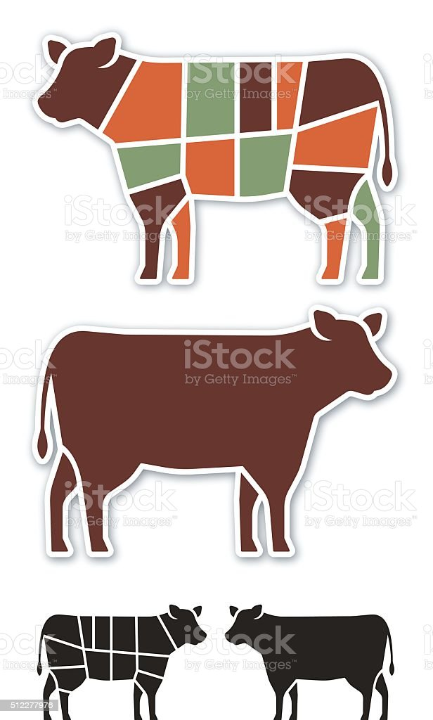 Cow Beef Cuts vector art illustration
