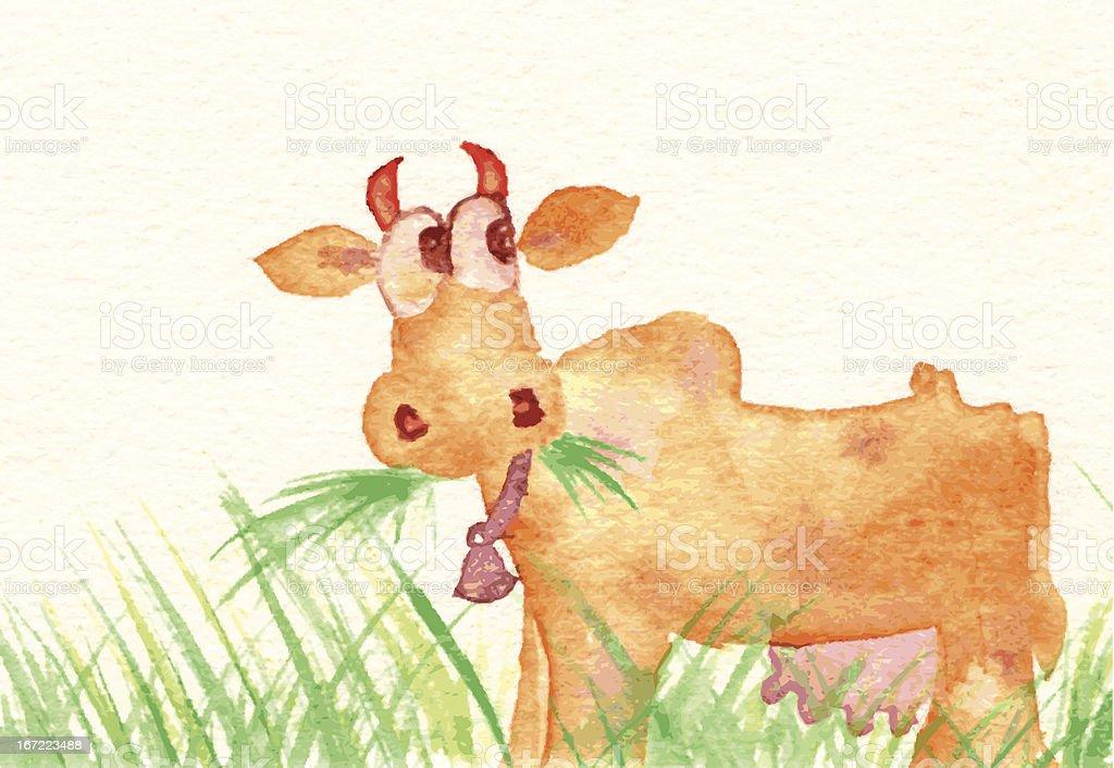 Cow Eating Grass - Vaca Comendo Capim royalty-free stock vector art
