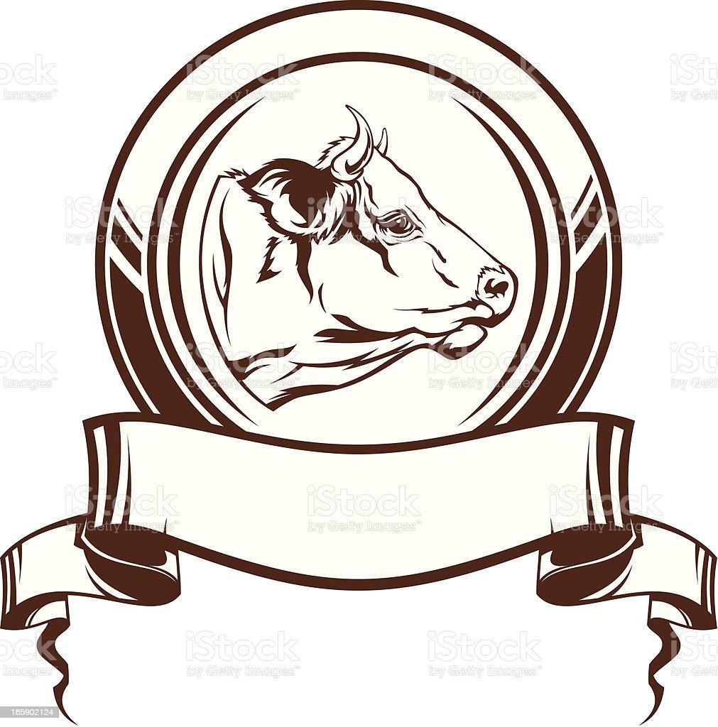 Cow emblem vector art illustration