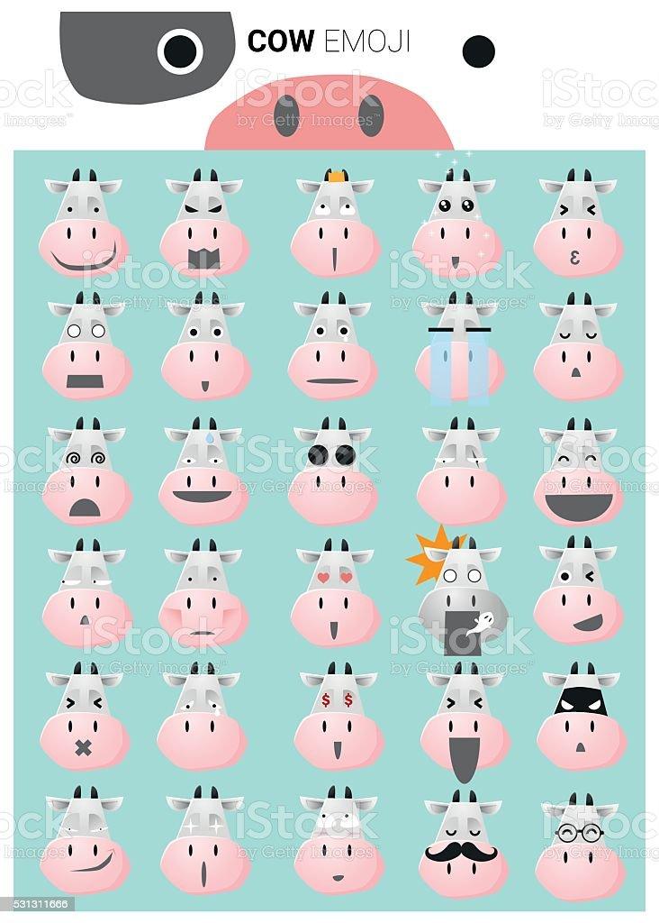 Cow emoji icons vector art illustration