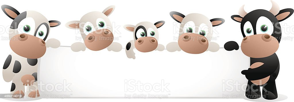 Cow family holding a large blank banner royalty-free stock vector art