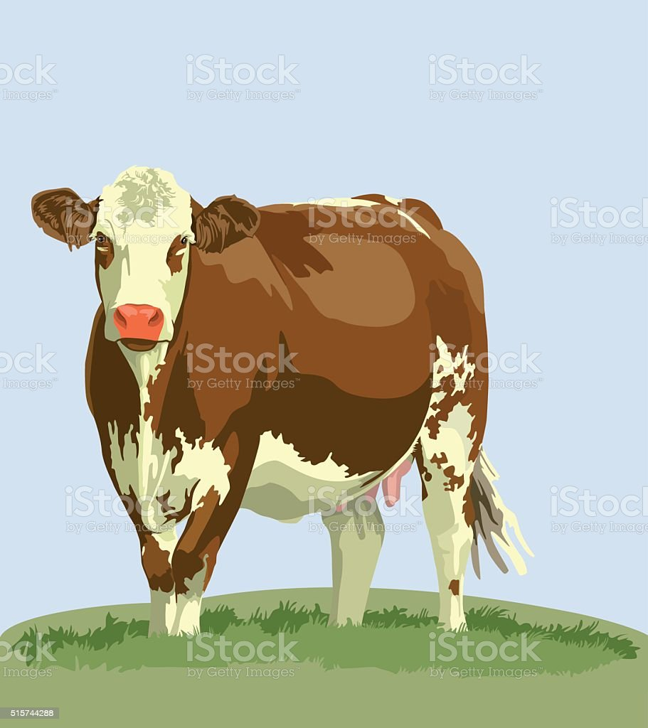cow farm animals vector art illustration