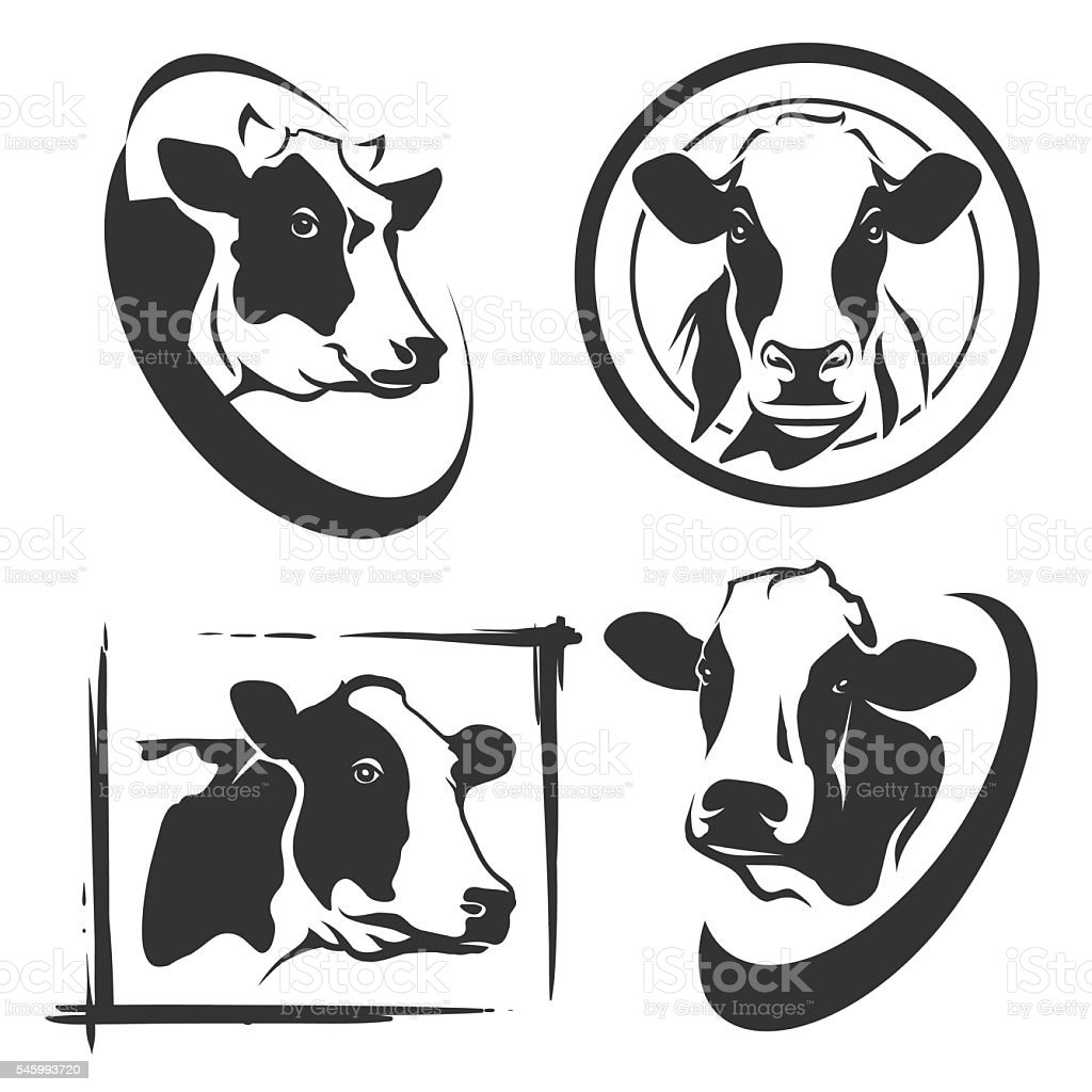 Cow head labels set vector art illustration
