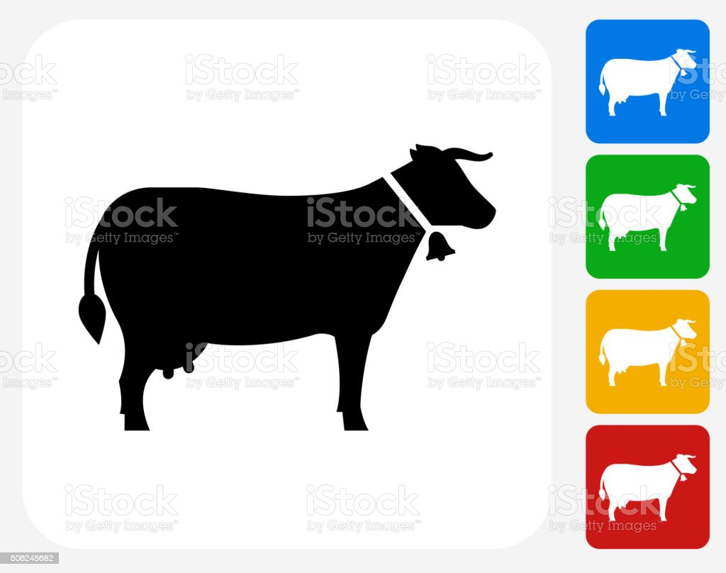 Cow Icon Flat Graphic Design vector art illustration