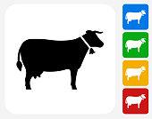 Cow Icon Flat Graphic Design