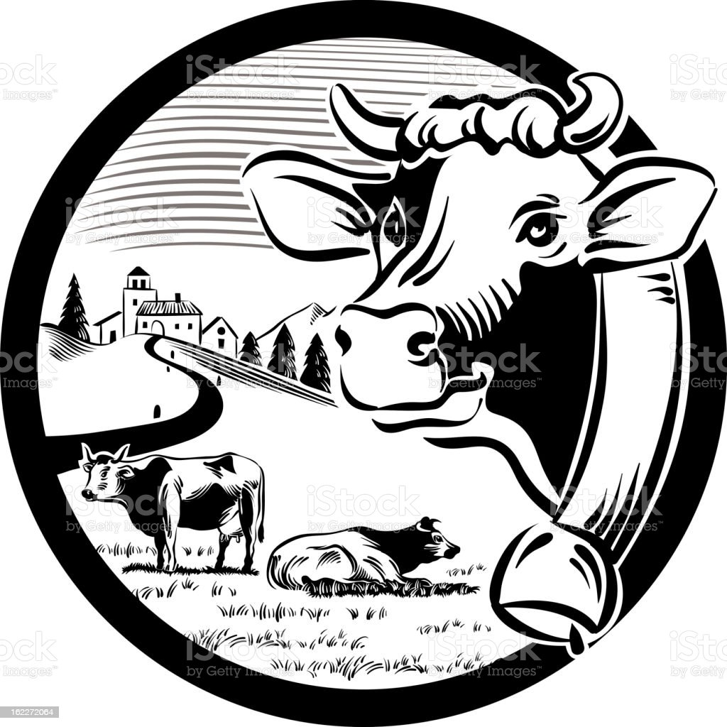 cow in round fram royalty-free stock vector art