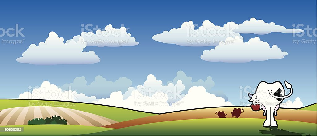 cow in the sky vector art illustration