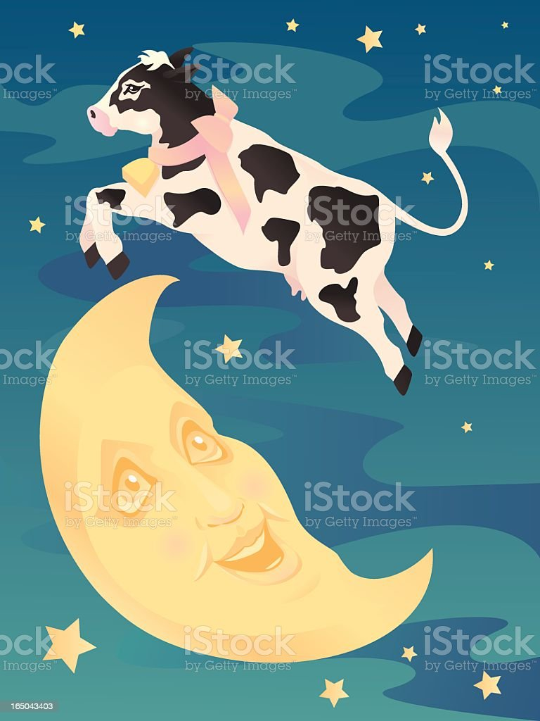 Cow jumping over moon. royalty-free stock vector art